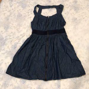 Denim Style Strappy Neck Dress by Montaeu